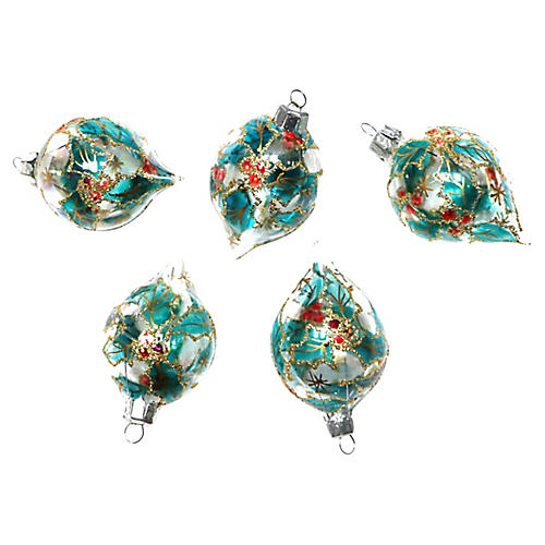 Leaf Print Ornaments, S/5