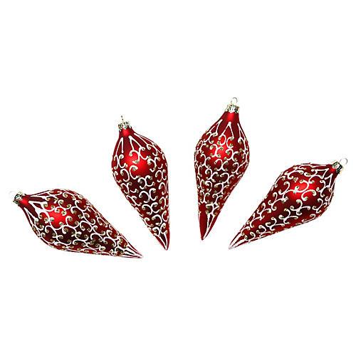 Red Glitter Ornaments, S/4