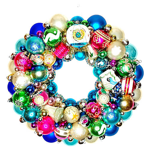 Jewel Tone Ornament Wreath