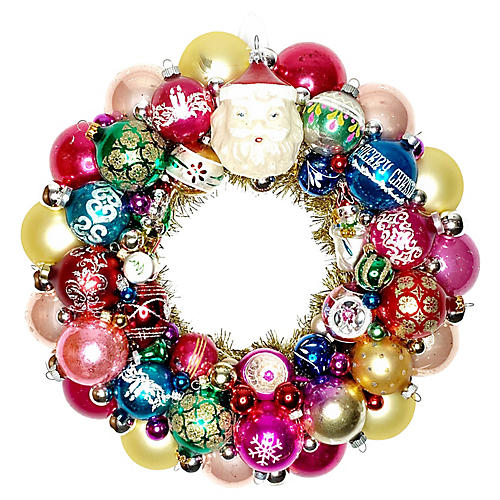 Santa Face Ornament Wreath