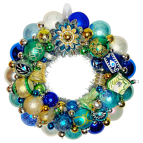 Blue & Green Ornament Wreath