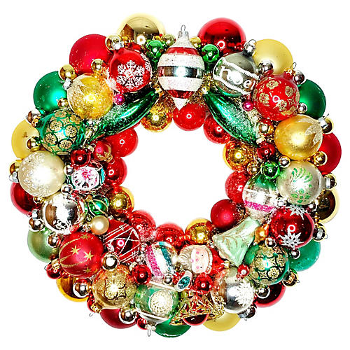 Red & Green Glass Ornament Wreath