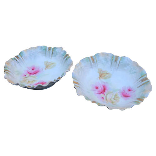 RS Prussia Opalescent Flower Bowls, S/2