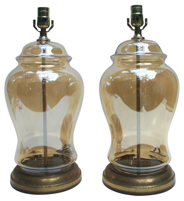 Gold Iridescent Glass Lamps, Pair