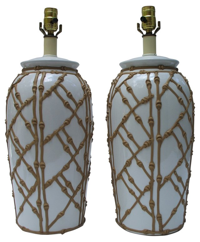 Decorative Bamboo Lamps, Pair