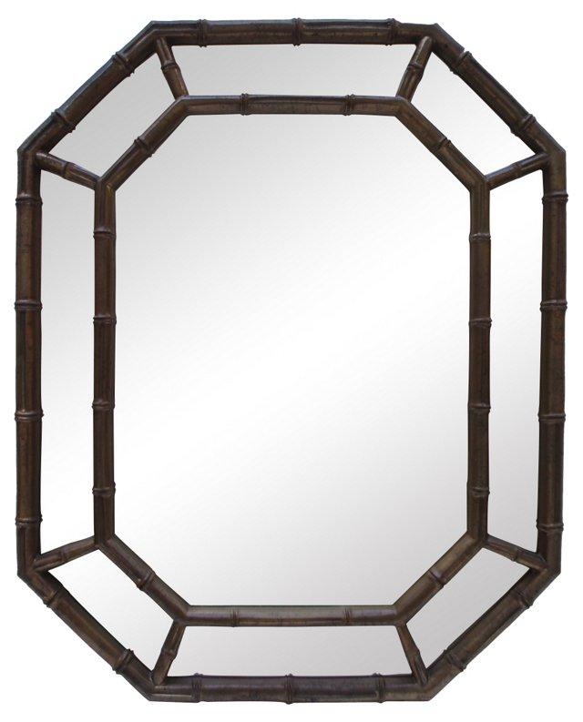 Dark Gold & Black Bamboo-Style Mirror