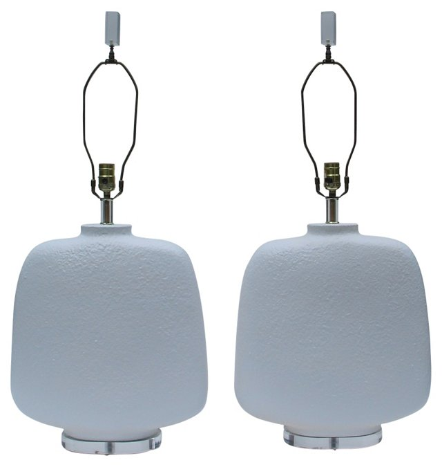 White Textured Lamps, Pair