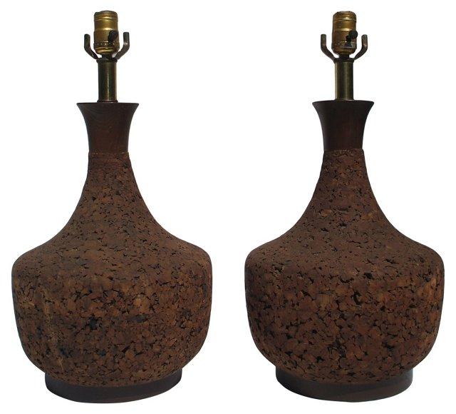 Round Cork Lamps, Pair