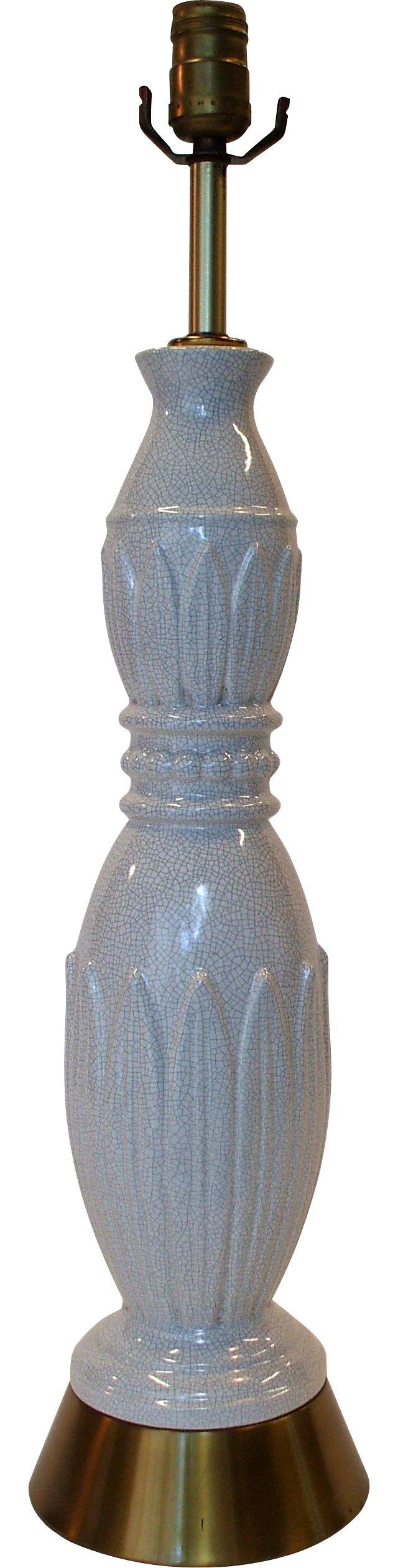 Tall Crackle-Finish Lamp