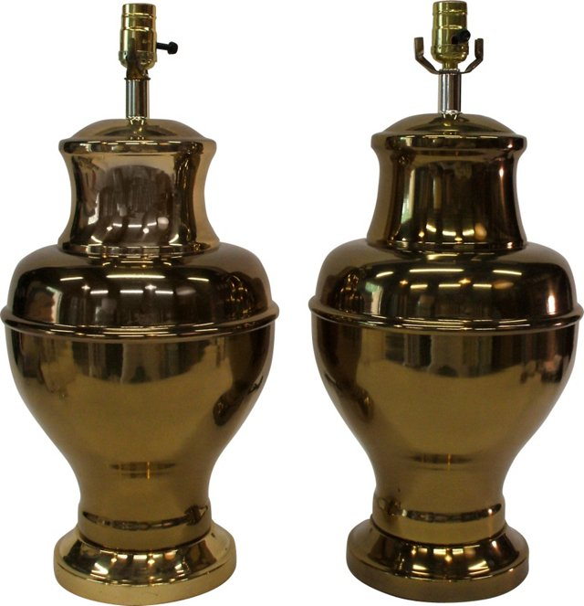 Gold Urn Lamps, Pair