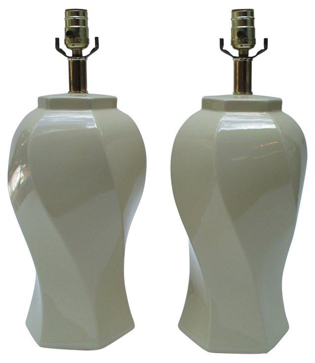 Soft Cream Swirl Lamps, Pair