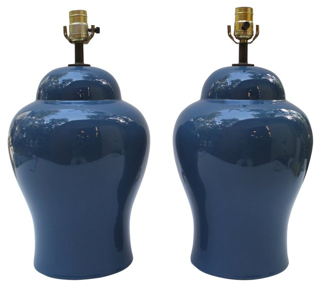 Coastal Blue Lamps, Pair