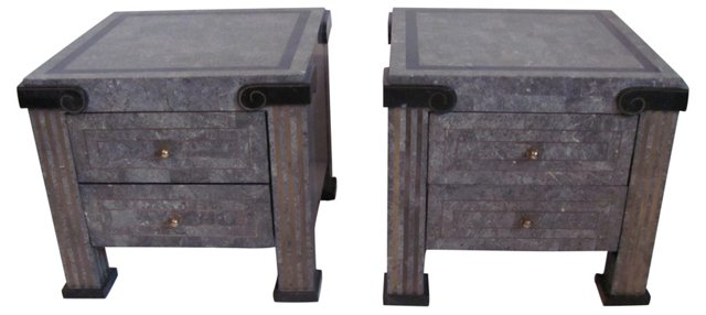 Tessellated Stone End Tables, Pair