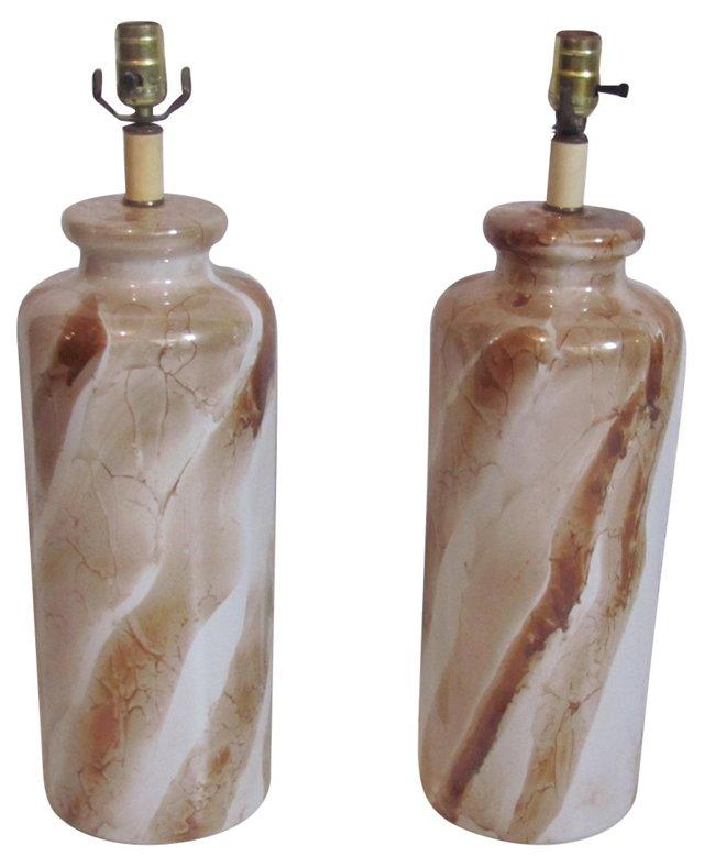 Faux-Marble Lamps, Pair