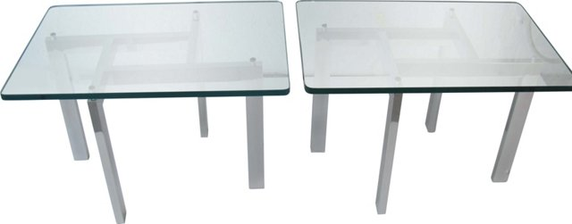 Aluminum &  Glass Side Tables, Pair