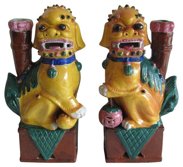 Ceramic Chinese Foo Dogs, Pair