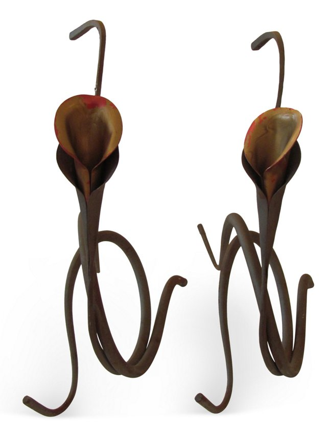 Metal Lily Candleholders, Pair