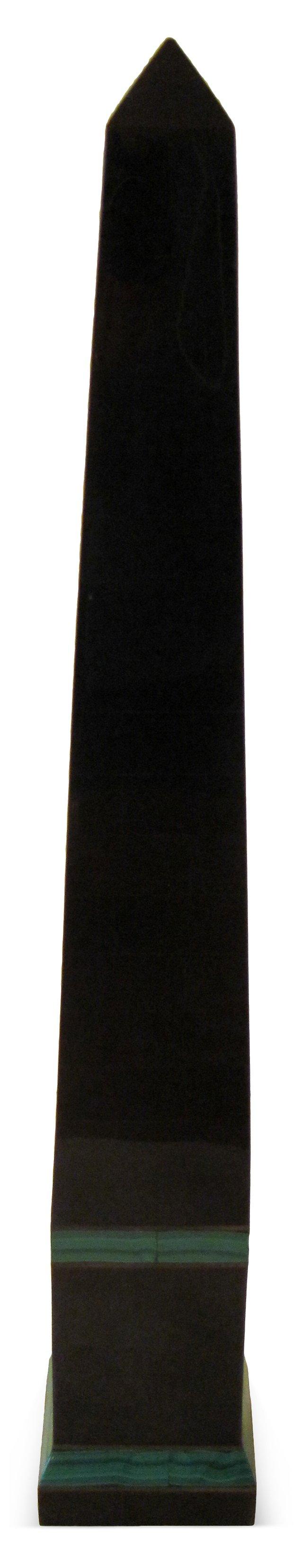Black Stone Obelisk w/ Malachite