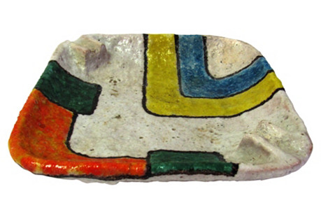 Raymor Ceramic Multicolored Ashtray