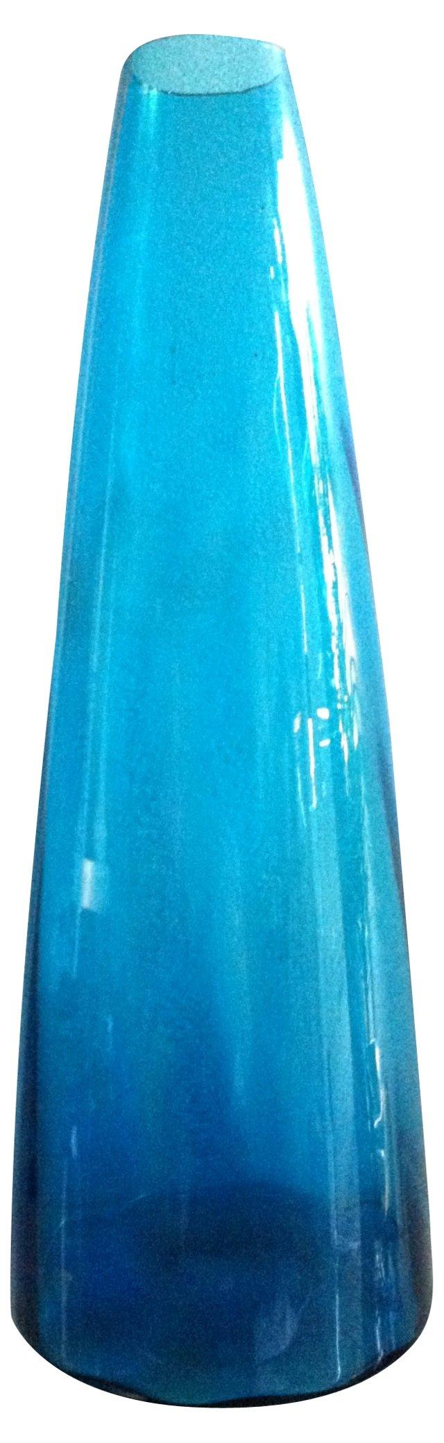 Tall Turquoise Blenko Vase, Signed