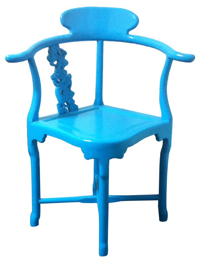 Chinese Turquoise Lacquer Corner Chair