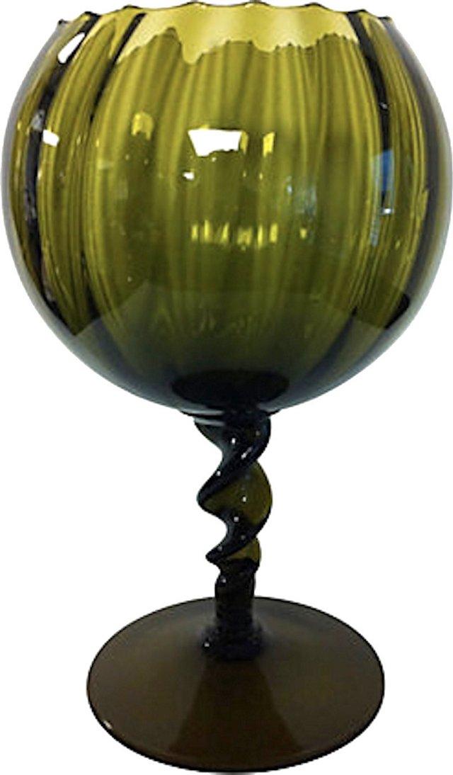 Olive Twisted Ribbon Stem Goblet