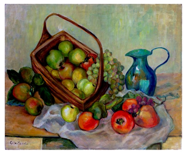 Turquoise Pitcher & Fruit Basket