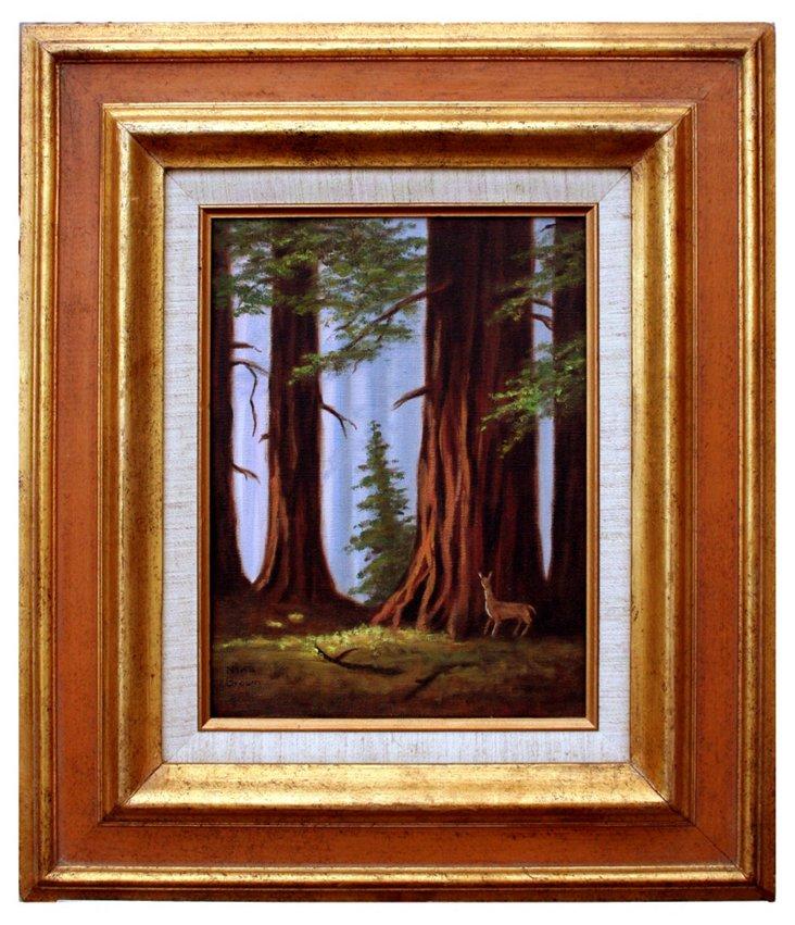 Redwoods with Deer by Nina Brown