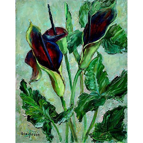 Burgundy Calla Lilies by Helen Gleiforst