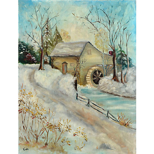 Snow Scene with Old Mill