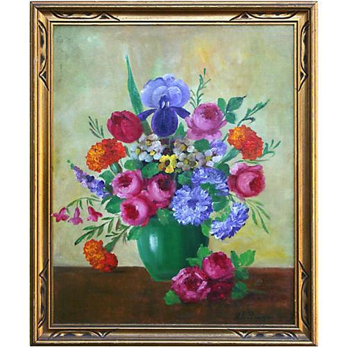 Roses & Iris Bouquet Still Life
