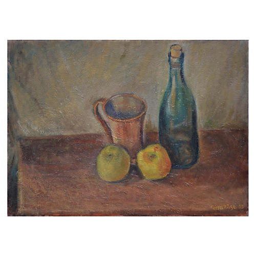 Wine Bottle & Golden Apple Still Life