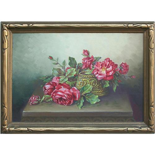 Red Garden Roses Still Life