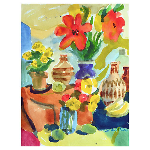 Flower & Jug Still Life by Les Anderson