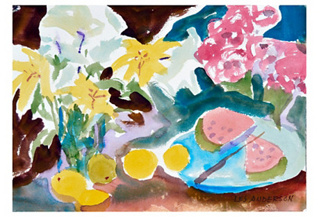 Melon & Daffodils by Les Anderson