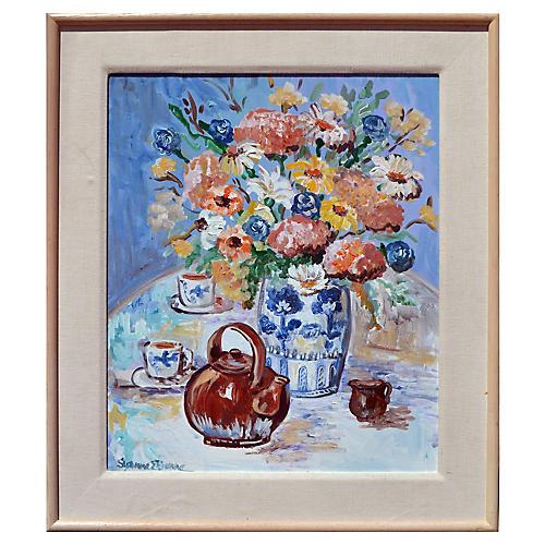 Flower Vase and Teapot Still Life