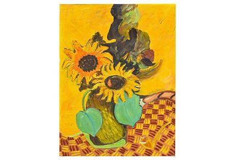 1970s Sunflower Still Life