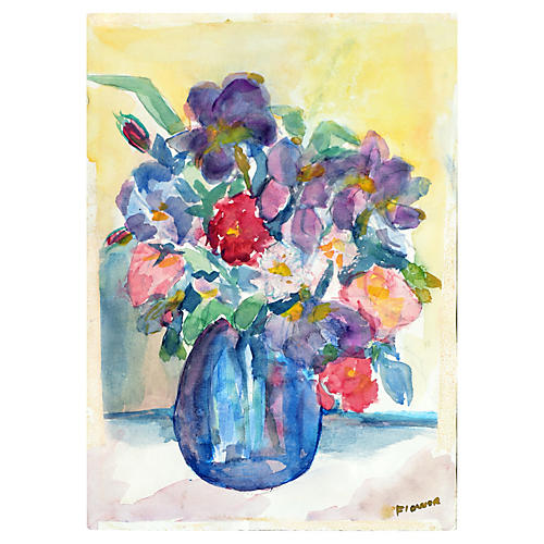 Bouquet with Blue Vase by Sarah Flower