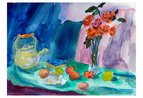 Teapot and Flowers Still Life