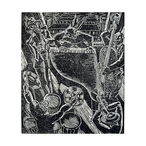 Harlem Jazz Session Woodcut Print