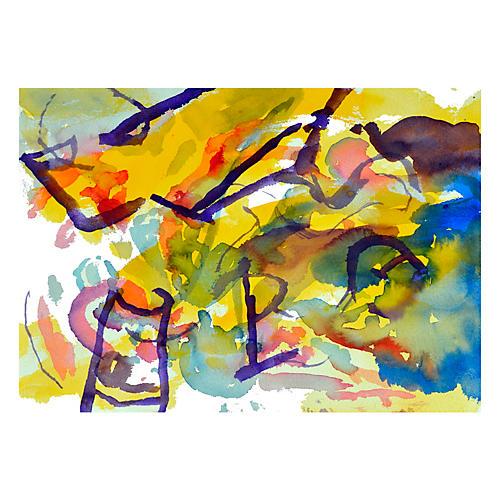 Yellow & Purple Garden Abstract