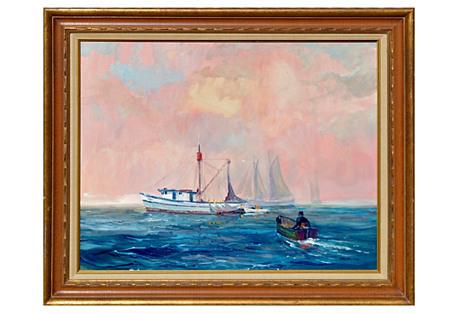 Fishing Boats in Bay by Elmer Ekeroth