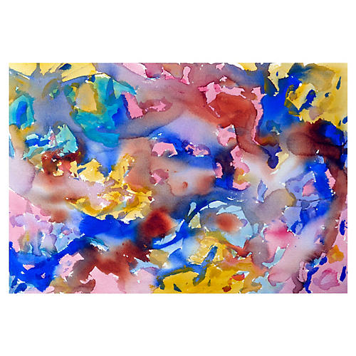 Yellow & Blue Abstract by Les Anderson