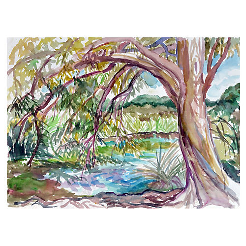 Tree by the Pond by Virginia Hughins