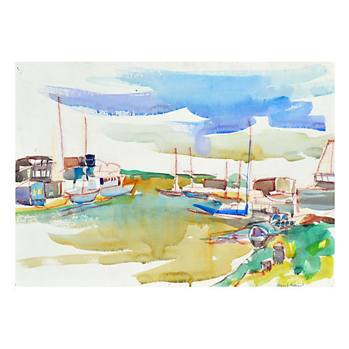 Boats in the Harbor by Virginia Hughins