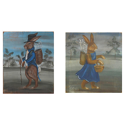 Folk Art Rabbits