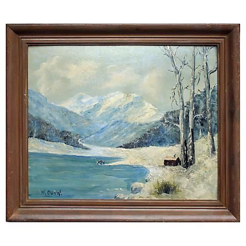 Lake Cabin in Snow