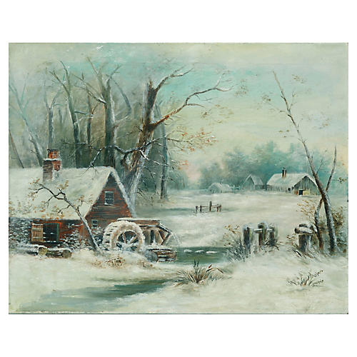 Winter Water Mill Scene