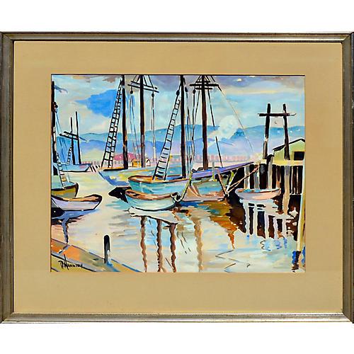 Sailboats in Harbor by Ramona Hammerly