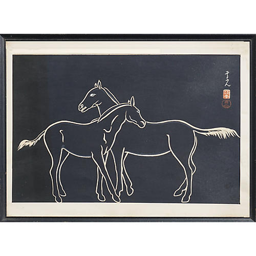 Chinese Silkscreen Print of Two Horses